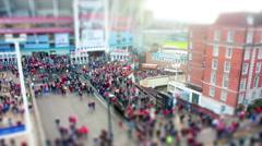 Crowd leaving Stadium. Tilt Shift Timelapse. - stock footage