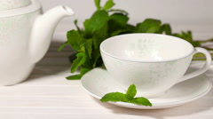 Cup tea with mint Stock Footage
