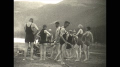 Vintage 16mm film, 1927, Canada, running around campfire Stock Footage