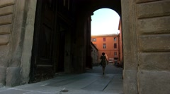 Old architectural arch in the historic Italian city - stock footage
