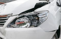 Car accident vehicle destroyed - stock photo