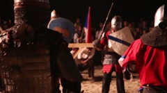 Group of knights in tournament Stock Footage