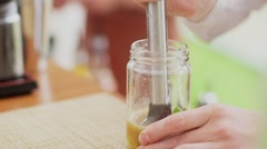 Close up of hands of barman making cocktails. Pounder. Stock Footage