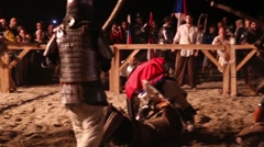 Medieval knights clash - stock footage