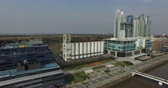 Aerial view of Puerto Madero old barn. - stock footage