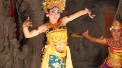 Balinese dancers female performing on stage in traditional costume Stock Footage
