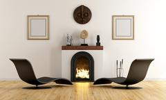 Modern lounge with fireplace - stock illustration