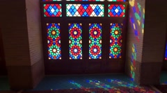 Tourists in the Nasir Al-Mulk Mosque by the windows Stock Footage