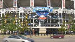 Progressive Field home of the Cleveland Indians in Cleveland, Ohio. - stock footage