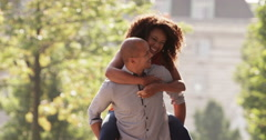 An African American young couple enjoying city life. Shot on RED Epic. Stock Footage