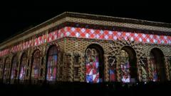 Video mapping on city building (Show of Light) - stock footage