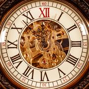 Close up on vintage clock - stock photo