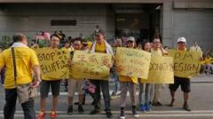 Demonstrators showing their demands,Kuala Lumpur,Malaysia Stock Footage