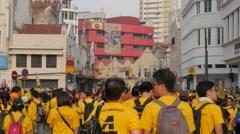 Demonstrators gathering in downtown,Kuala Lumpur,Malaysia Stock Footage