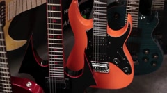 Colorful neon guitars Stock Footage