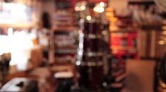 Drum room in music store rack focus static - stock footage