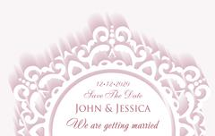 Stock Illustration of Elegant save the date paper style card with lace decoration, vintage wedding
