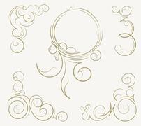 Set of unusual round vintage frames and decorative elements on background. Ve Stock Illustration