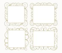 Stock Illustration of Set out of 4 decorative lace ornament, vintage frame with square empty place