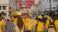 Bersih4 demonstrators making photographs,Kuala Lumpur,Malaysia - stock footage