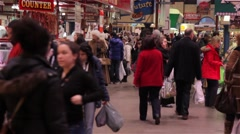 People walking in St. Lawrence Market, canada - stock footage