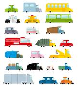 Car set cartoon style. Big transport icons collection. Ground set vehicles. A Piirros