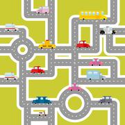 Road and transport seamless pattern. Cartoon map of cars and traffic. Bus and - stock illustration