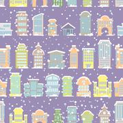 Winter city seamless pattern. Snowfall. Skyscrapers and municipal buildings i Stock Illustration