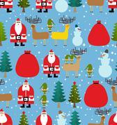 Stock Illustration of Christmas pattern. Background of snowfall. Decorative winter ornament. Santa