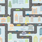 Snowfall in city seamless pattern. Urban map of winter. Background with roads Stock Illustration