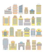 Stock Illustration of Collection of buildings, houses and architectural objects. Urban elements in