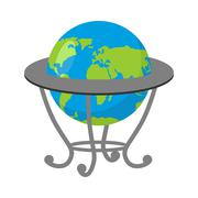 Globe on stand. Model of  Earth. School geographical Atlas - stock illustration