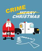 Crime Christmas. Santa Claus in handcuffs. Deer sits in  police car. Killing  - stock illustration
