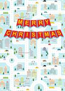 Merry Christmas. Greeting card winter city on eve of new year. Garland with l - stock illustration