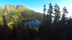 A beautiful aerial shot at dawn over Emerald Bay Lake Tahoe. Stock Footage