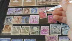 Hobby. Philately. Stamp-collecting Stock Footage