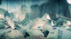 Cash donations in a box Stock Footage