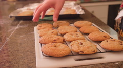 A mother hands out fresh chocolate chip cookies to her daughters Stock Footage