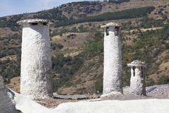 Chimneys in Capileira, Las Alpujarras, Granada province, Andalusia, Spain - stock photo