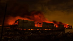 A huge fire in the industrial area Stock Footage