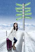Woman and destinations for winter holiday Stock Photos