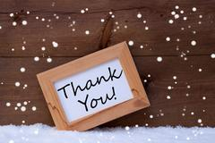 Picture Frame With Text Thank You, Snow, Snowflakes Stock Photos