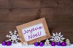 Purple Decoration, Snow, Joyeux Noel Mean Merry Christmas Stock Photos