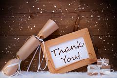 Chrsitmas Gifts With Text Thank You, Snow, Snowflakes - stock photo