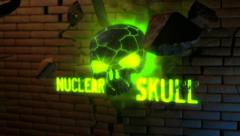 Nuclear Skull - Skull Crsashing Through Brick Wall Logo Stinger - stock after effects