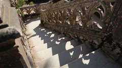 Old staircase outside palace Stock Footage