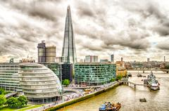 Aerial View of South Bank over the Thames River, London - stock photo
