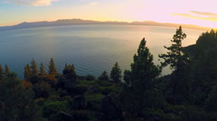 A beautiful aerial shot at dawn over Lake Tahoe. Stock Footage