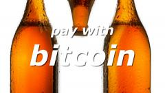 Bitcoin beer pay with 1 Stock Footage