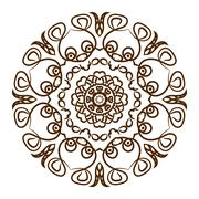 Hand drawn henna tattoo mandala. Vector lace ornament - stock illustration